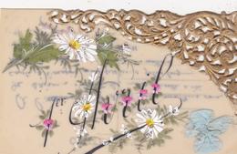 CPA En Celluloïd Peinte à La Main Fleurs Ruban Avec Frise Fête 1er Avril Fantaisie - 1er Avril - Poisson D'avril
