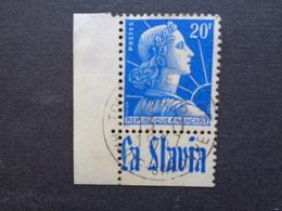 BDF AVEC PUB LA SLAVIA - 1955 TYPE MARIANNE DE MULLER ( BELLE OBLITERATION RONDE ) - Advertising