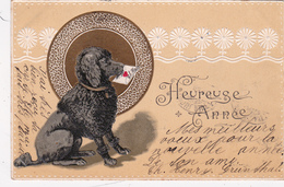 CPA Gaufrée Animal Chien Dog Caniche Heureuse Année Embossed Illustrateur Anonyme - Chiens