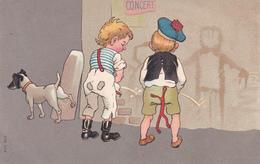 CPA Enfant Garçonnets Faisant Pipi Concours Urine Pisse Ainsi Qu' Un Chien Dog Illustrateur Anonyme - Illustrateurs & Photographes