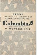 Petit Catalogue Disques Columbia Octobre 1936 Lucienne Boyer Tino Rossi Fernandel Vina Bovy ... - Vieux Papiers