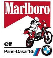 "Autocollant  Publicité ""MALBORO   Cigarettes    BMW  ELF  "" RALY PARIS DAKAR En 1986 - Adesivi"