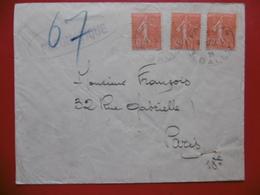 GRIFFE PNEUMATIQUE LETTRE SEMEUSE LIGNÉE CACHET PARIS BALLU 1929 - Marcophilie (Lettres)