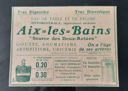 PUBLICITE 1900 EAUX MINERALES EAU HYPOMINERALE AIX LES BAINS RHUMATISME SOURCE DES 2 REINES SIPHONS BONBONNNES - Publicités