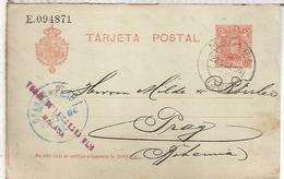 MALAGA ENTERO POSTAL ALFONSO XIII A PRAGA 1906 VARIANTE TERCERA LINEA MAS LARGA - Entiers Postaux