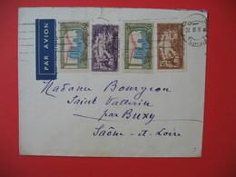 Tunisie  Lettre 1937  Cachet Tunisie Voyagé Par Avion  Pour La France Saône Et Loire - Lettres & Documents