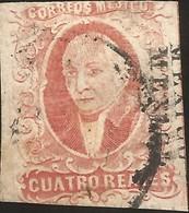 J) 1856 MEXICO, HIDALGO, 4 REALES, MEXICO DISTRICT, DOUBLE NAME, CIRCULAR CANCELLATION, MN - Mexico