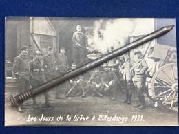 """Luxembourg - Differdange - Les Jours De La Grève à Differdange 1921 - Soldats Devant Un """"canon Goulash"""" - Differdange"""
