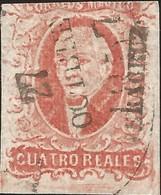 J) 1856 MEXICO, HIDALGO, 4 REALES RED, VERACRUZ DISTRICT, CIRCULAR CANCELLATION, MN - Mexico