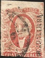 J) 1856 MEXICO, HIDALGO, 4 REALES RED, DISTRICT GUADALAJARA, JUMBO MARGINS, CIRCULAR CANCELLATION, MN - Mexico