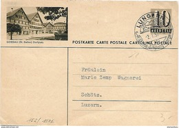"""163 - 51 - Entier Postal Avec Illustration """"Gossau"""" Superbe Cachet Illustré Lungern 1957 - Entiers Postaux"""
