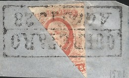 J) 1856 MEXICO, HIDALGO, FRAGMENT OF THE LETTER, BISECT 4 REALES, FAKE, BLACK BOX CANCELLATION, MN - Mexico
