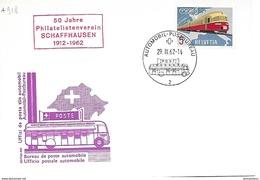 """166 - 52 - Carte Pen Avec Oblit Spéciale """"50 Jahre Philatelistenverein Schaffhausen 1962"""" - Marcophilie"""