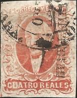 J) 1856 MEXICO, HIDALGO, GUADALAJARA DISTRICT, 4 REALES RED, CIRCULAR CANCELLATION, MN - Mexico