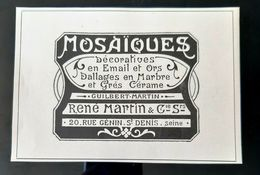 MOSAIQUES DECORATIVES RENE GUILBERT MARTIN EMAIL GRES CERAME ART NOUVEAU PUBLICITE 1900 ADVERTISING JUGENDSTIL MOSAIC - Pubblicitari