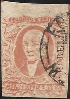 J) 1856 MEXICO, HIDALGO, 4 REALES RED, JUMBO MARGINS, DISTRICT MORELIA, CIRCULAR CANCELLATION, MN - Mexico