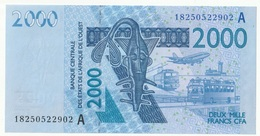 Billet De 2000 Francs CFA XOF Non Circulé Afrique De L'Ouest Origine Cote D'Ivoire - Costa D'Avorio