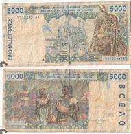 Billet De 5000 Francs Afrique De L'Ouest Origine Cote D'Ivoire - Côte D'Ivoire