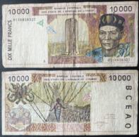 Billet De 10 000 Francs Afrique De L'Ouest Origine Cote D'Ivoire - Costa D'Avorio