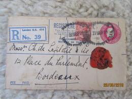 Entier Postal Lettre Recommandée Avec Cachet De Cire - Registered Letter 1928 To Bordeaux - Postal Stationery - 1902-1951 (Rois)
