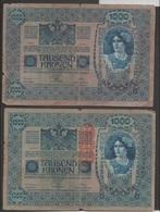 Autriche-Hongrie Lot De 6 Billets De Banque 1918 De 1000 Couronnes, Segond Choix, Vue Recto-verso D'un Exemplaire - Austria
