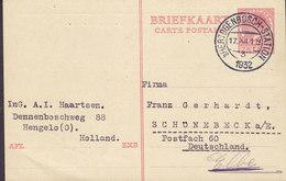 Netherlands Postal Stationery Ganzsache A.I. Haartsen Ingenieurbureau, 's-HERTOGENBOSCH-STATION 1932 SCHÜNEBECK Germany - Ganzsachen