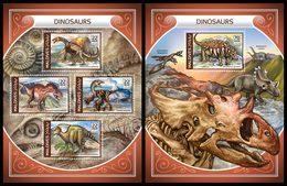 MALDIVES 2018 - Dinosaurs, Fossils - YT CV=30 €, 6098-6101 + BF1136 - Fossils