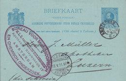 Netherlands Postal Stationery Ganzsache Bureau Voor Microscopish M.L.Q. Van LEDDENHULSEBOSCH, AMSTERDAM 1891 LUZERN Arr. - Ganzsachen