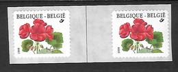 OCB Nr 2854 R91 Buzin Flora Geranium Strip Abnormale Ruimte Tussen Beide Zegels  MNH !!!! - Rouleaux
