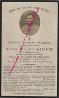 Guerre 1914-Faire-part De Aimé MONTAIGNE 1er R Mort Pour La France à Craonne En 1917-né Saint Jans Cappel - Décès