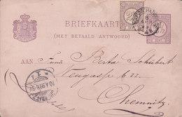 Netherlands Uprated Postal Stationery Ganzsache Met Betaad Antwoord (Frage) NOORDSCHARWOUDE 1899 CHEMNITZ (Arr.) Germany - Ganzsachen