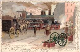 HAMBURG Color Litho Signiert Künstler Zeno Diemer Dampflok Eisenbahn Dammthor 19.6.1900 Gelaufen - Diemer, Zeno
