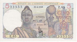 BILLETE DE BANQUE DE L'AFRIQUE OCCIDENTALE DE 5 FRANCS DEL AÑO 1948 SIN CIRCULAR-UNCIRCULATED - Banknotes