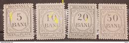 REVENUE  STAMPS TAX Stamps ROMANIA 1918-20, FISCAL STAMP,TAXA DE PLATA , 4v. UNUSED WITH ERRORS - 1881-1918: Carol I.
