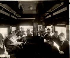 CANADIAN NATIONAL RAILWAYS INTERIEUR WAGON CANADA  CHEMIN DE FER Train Railway 24*18 CM Fonds Victor FORBIN 1864-1947 - Trenes