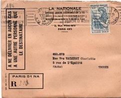 LSC 1947 - Recommandé Et Cachet  PARIS 51  Sur YT 762 - 2 Cachets De Cire Au Dos N.V - Postmark Collection (Covers)