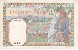 BILLETE DE ARGELIA DE 50 FRANCS DEL AÑO 1940 EN CALIDAD MBC(VF) (BANKNOTE) - Argelia