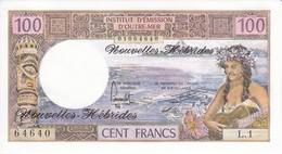 BILLETE DE NOUVELLES HEBRIDES DE 100 FRANCS DEL AÑO 1975 SIN CIRCULAR-UNCIRCULATED - Nuove Ebridi
