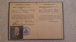 CARTE D'IDENTITE PERSONALAUSWEIS 1941 DEPARTEMENT DE LA MARNE - 1939-45