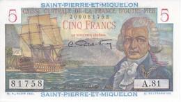 BILLETE DE SAINT PIERRE ET MIQUELON DE 5 FRANCS DEL AÑO 1950 SIN CIRCULAR-UNCIRCULATED - Francia