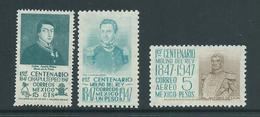 Mexico 1947 Battle Anniversaries 15c 1 Peso & 5 Peso Soldiers & Generals Part Set Of 3 MNH - Mexico