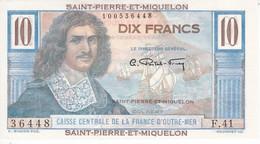 BILLETE DE SAINT PIERRE ET MIQUELON DE 10 FRANCS DEL AÑO 1950 SIN CIRCULAR-UNCIRCULATED - Francia
