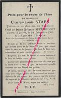 Faire-part De Décès BORRE 1905-Charles STAES-conseil De Fabrique ép Mélanie SPETERBROODT-76 Ans - Décès