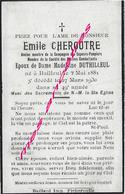 Faire-part De Décès BAILLEUL 1930-Emile CHEROUTRE Sapeur Pompier Ancien Combattant ép Madeleine Duthilleul - Décès