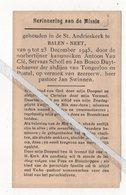 HERINNERING H.MISSIE ST.ANDRIESKERK TE BALEN-NEET 1945 OP VERZOEK VAN PASTOOR JAN SWINNEN - Devotieprenten