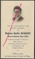 Faire-part De Décès HAZEBROUCK 1948- Maria BACQUAERT ép Albert LEBLEU - Décès