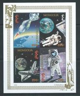 Mongolia 1994 Moon Landing Anniversary Miniature Sheet Of 4 MNH , Margin Crease - Mongolia
