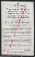 Guerre 1914 WESTOUTRE-Faire-part Marie,Jeanne, Véronique DUQUESNEtuées Par Un Obus En 1918-civils Tués - Décès