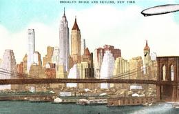 Brooklyn Bridge And Skyline New York - Airship - Ballon Dirigeable Pont - Written In 1935 - 2 Scans - Brooklyn