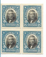 CHILE 1915 - 27 PERSONALITIES MANUEL MONT 25C BLUE MNH BLOCK OF FOUR VF SCOTT 167 MI 160 - Chile